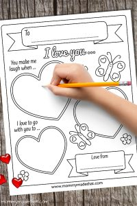 I love you because printable activity for kids