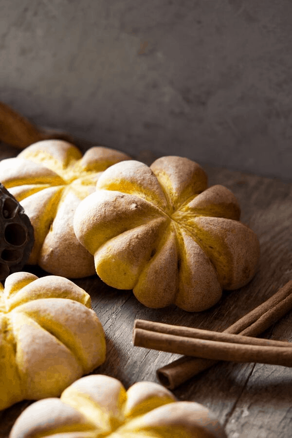 Pumpkin shaped bread rolls for halloween party