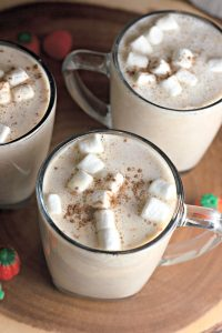 Pumpkin spice hot chocolate in mugs