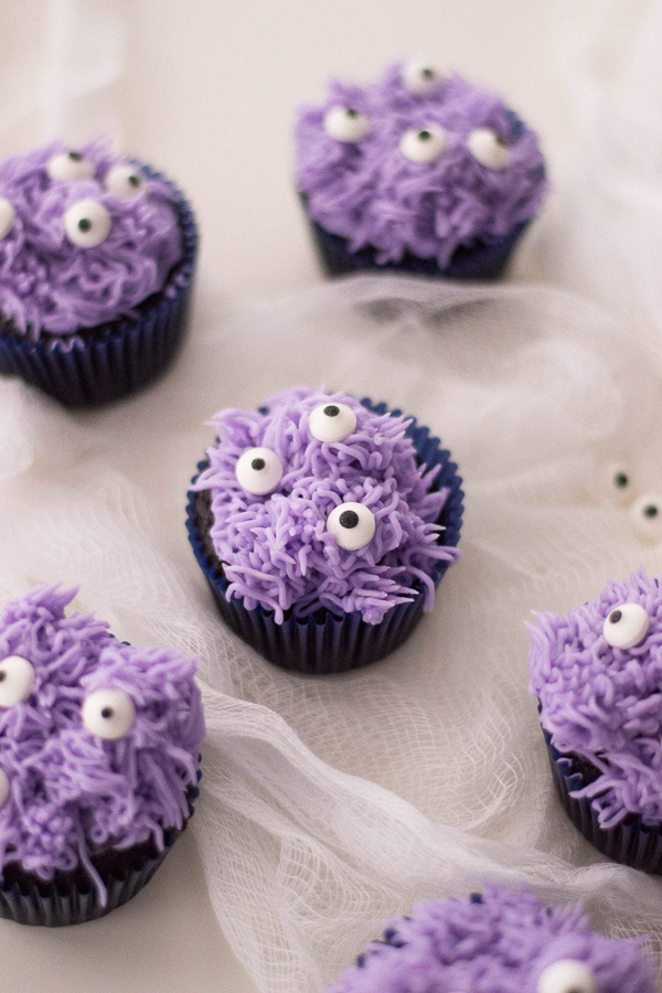 purple monster decorated cupcakes