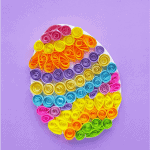 Quilled Easter egg craft. Fun paper easter egg craft you can do by yourself or with your kids! Made of colorful strips of paper.
