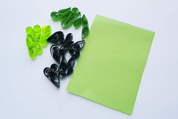 quilling pieces in green color