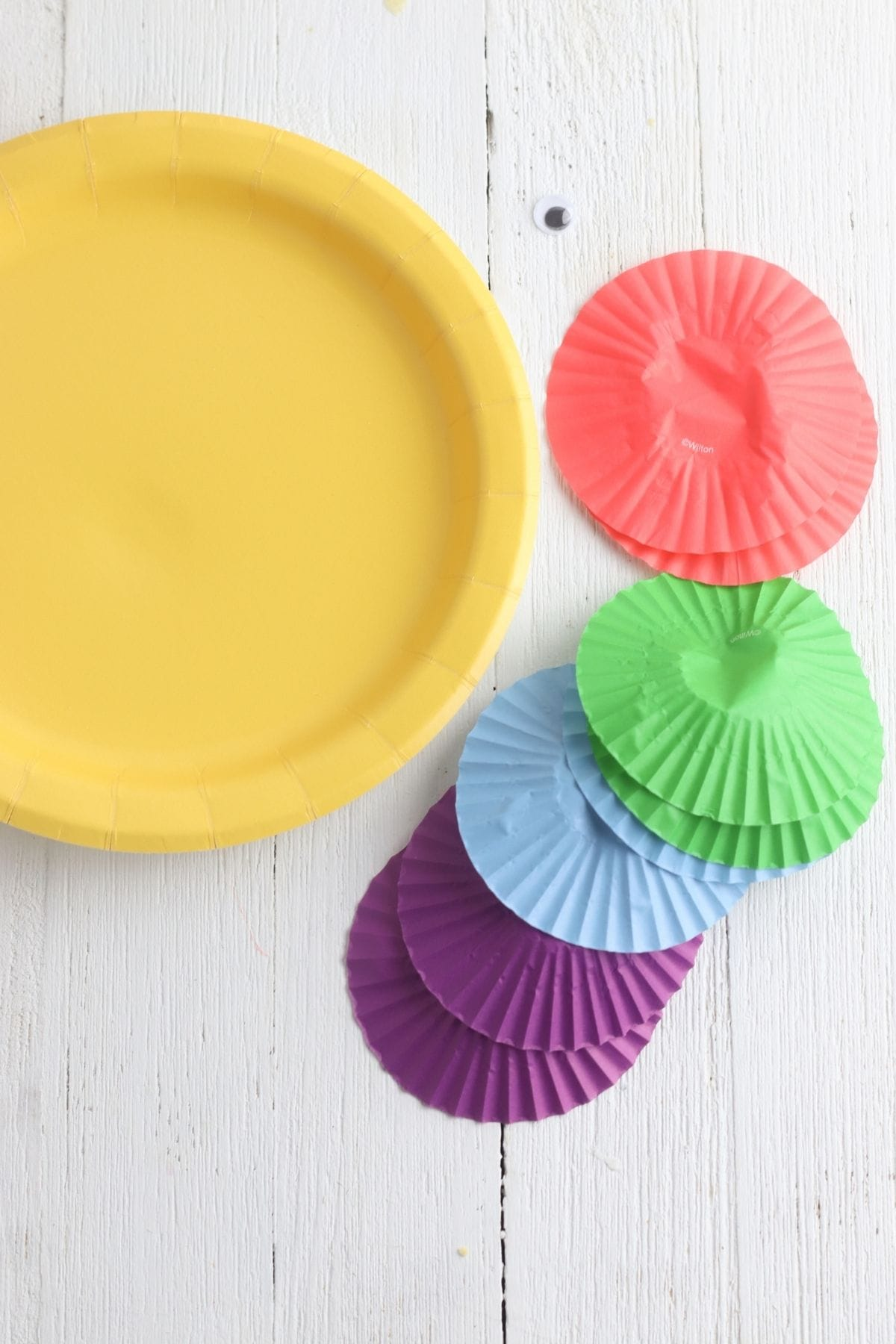 supplies needed to make a paper plate rainbow fish