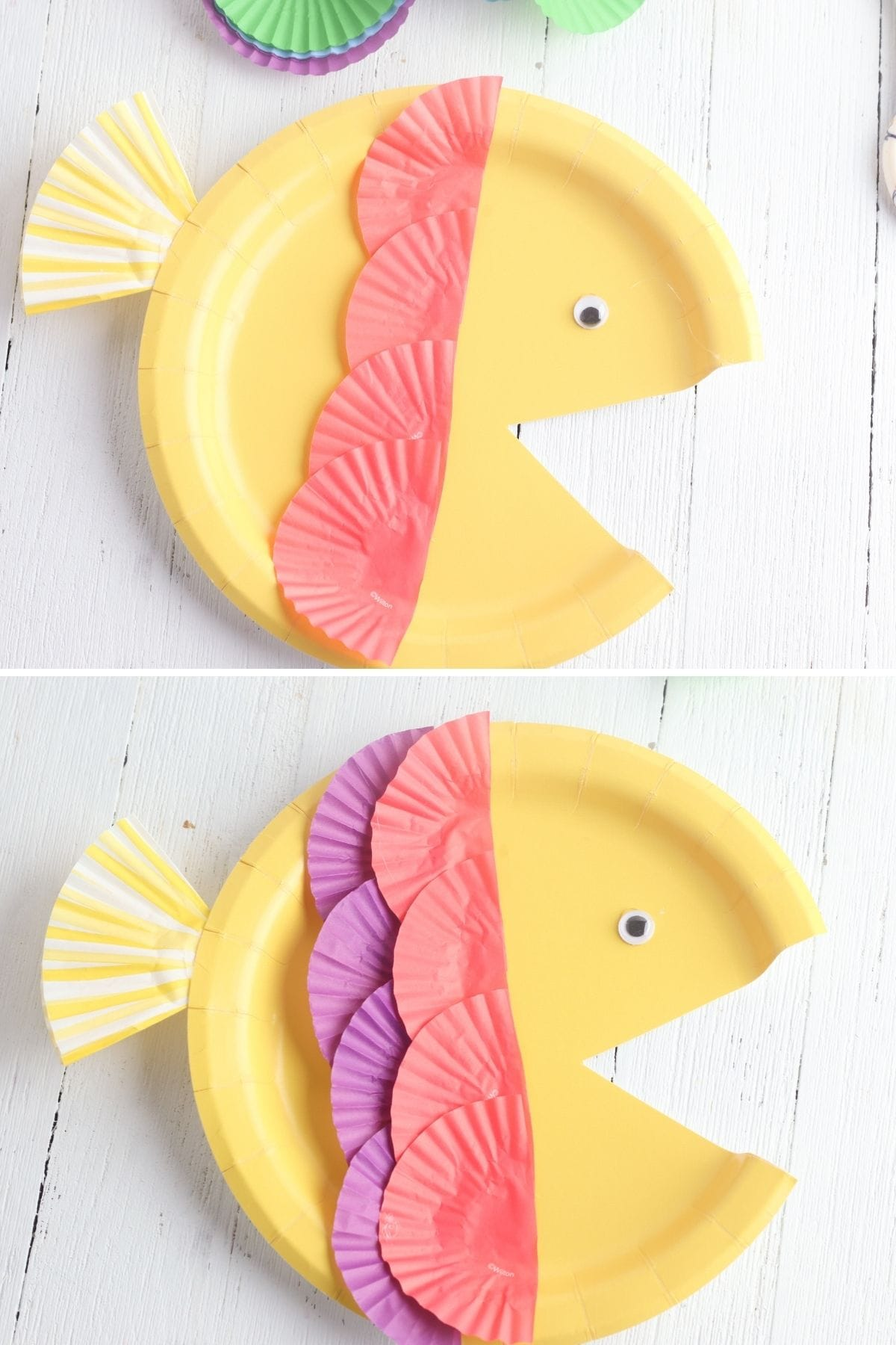 creating rainbow scales on paper plate fish with cupcake liners