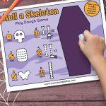 skeleton play dough mat game