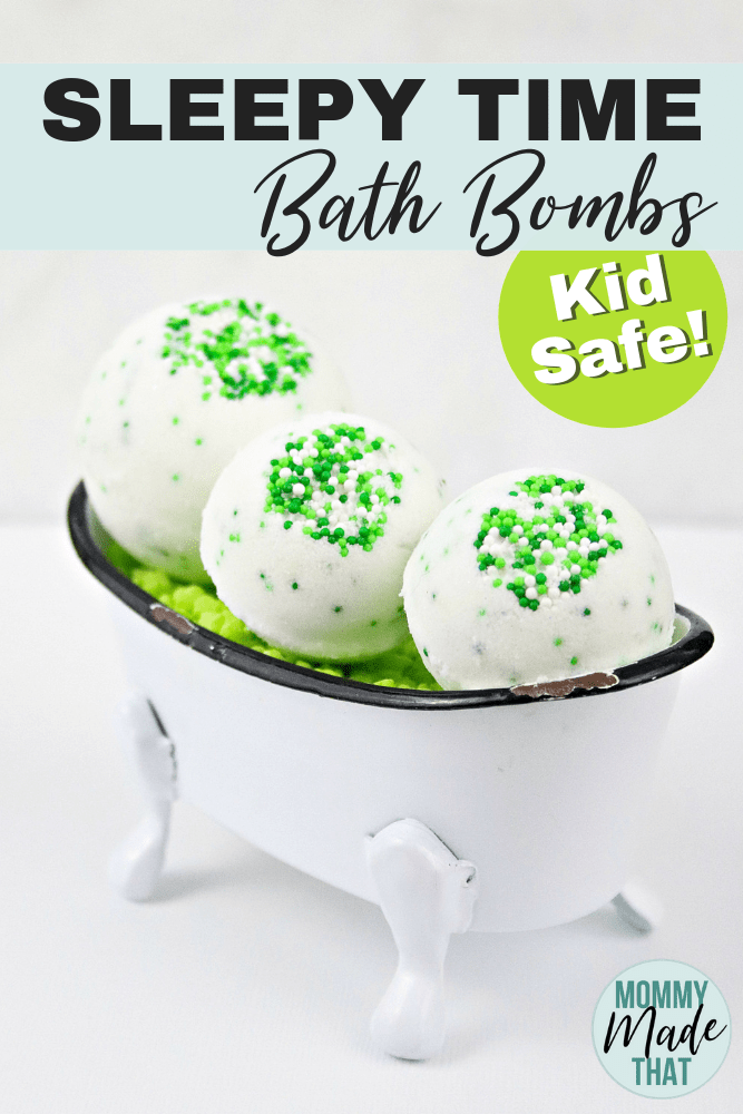Sleepy time bath bombs! These fun little bath bombs are made with kid safe essential oils to help promote a better nights sleep! Good for kids and moms!