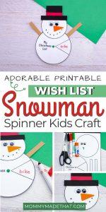 snowman spinner gift wish list craft