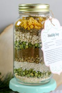 Soup mix layered in glass jar for a gift