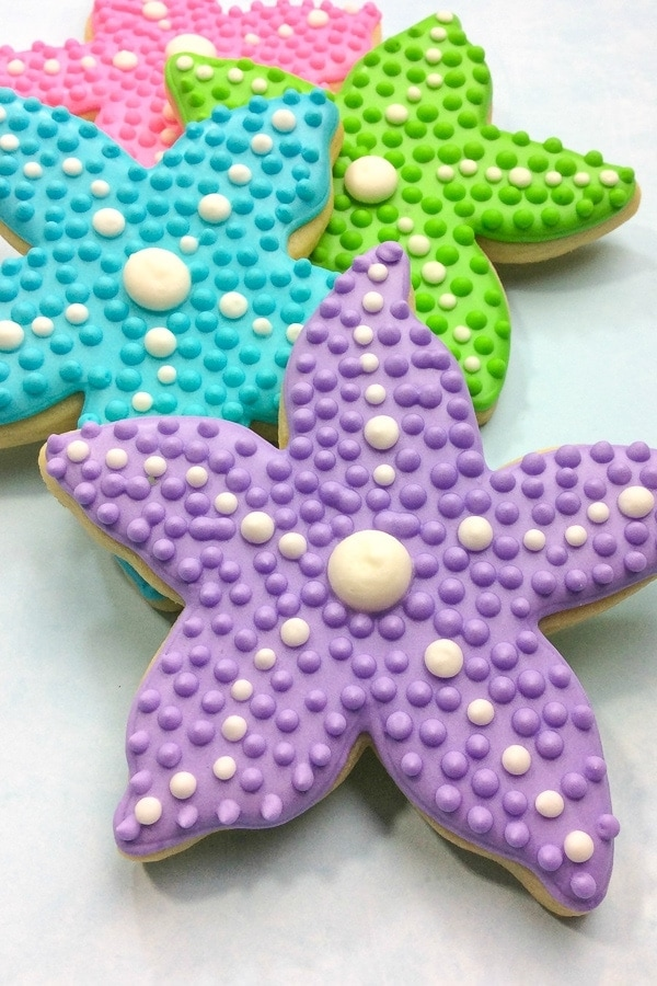 colorful starfish mermaid cookies with royal icing