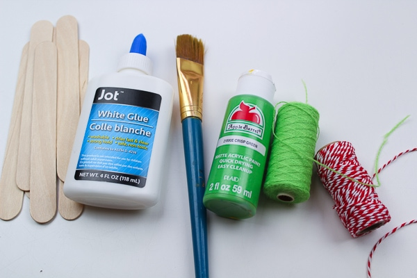 Supplies needed for elf Popsicle stick craft