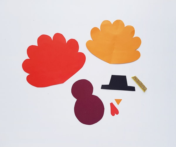 Toilet Paper Roll Turkey Template Pieces