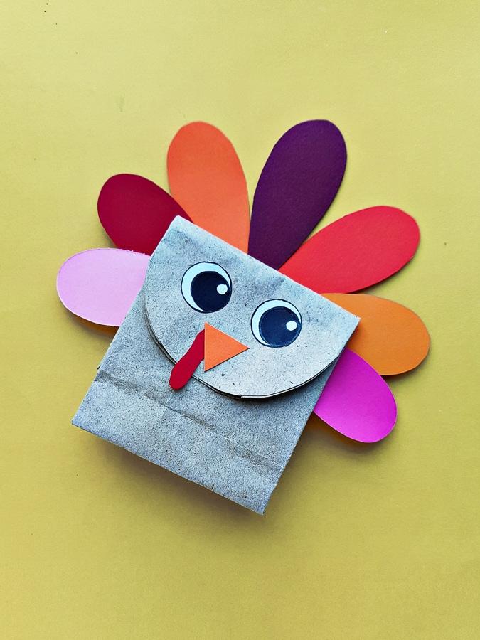 Turkey paper bag craft for kids