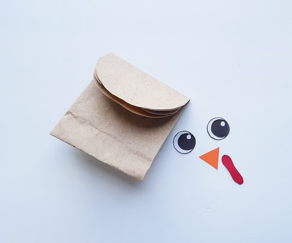 Adding a turkey face to a paper bag