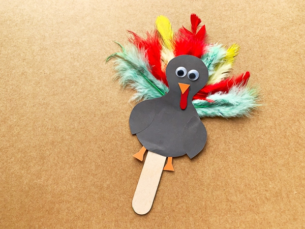 Adorable Popsicle Stick Turkey Craft For Thanksgiving Free