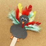 Kids turkey popsicle stick craft