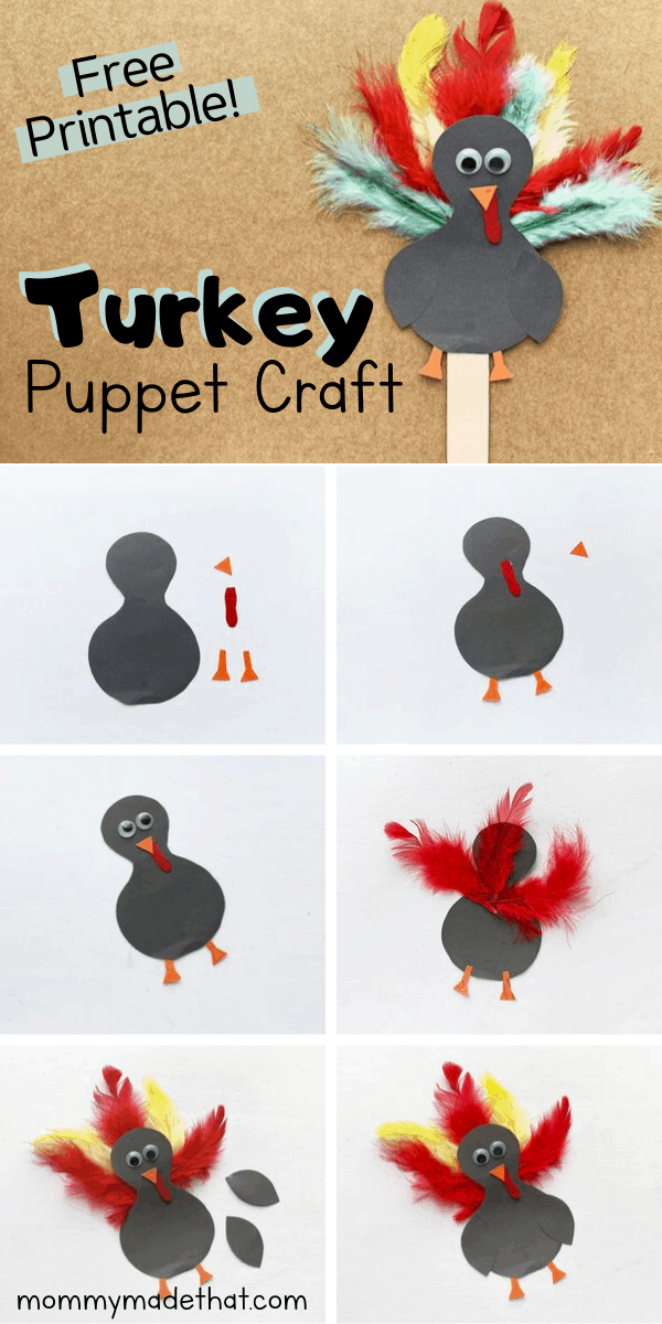 turkey popsicle stick puppet step by step photos