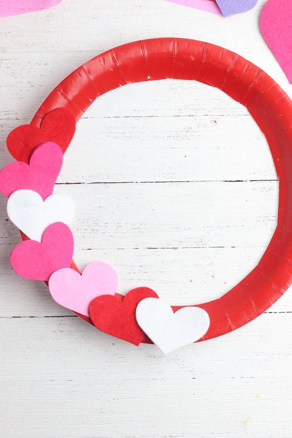Valentines day kids wreath craft