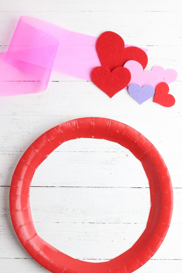 Supplies Needed for DIY heart valentine wreath