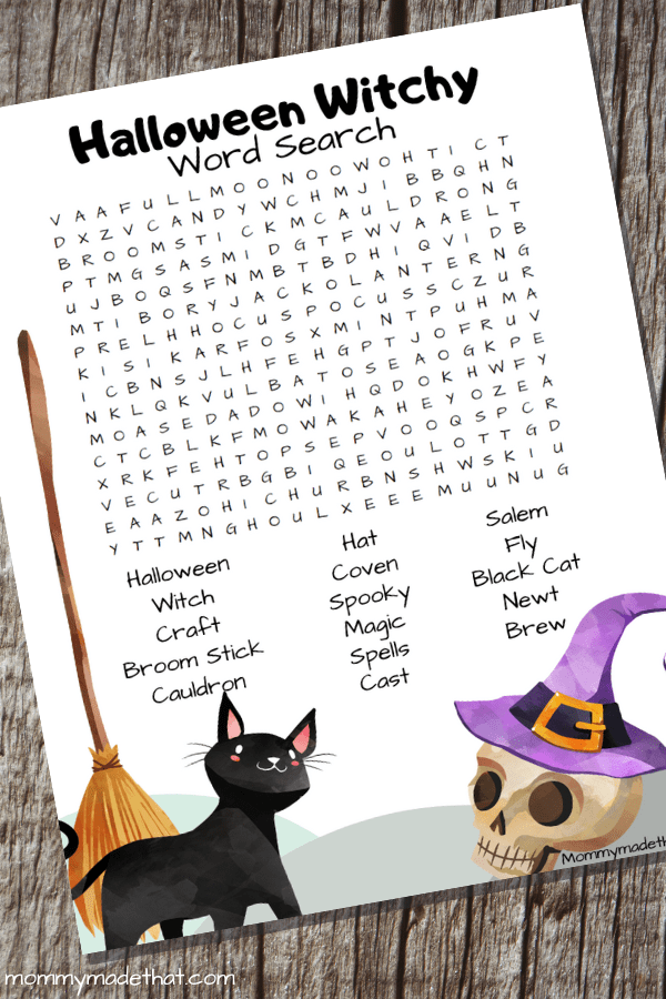 witch themed word search printable for halloween