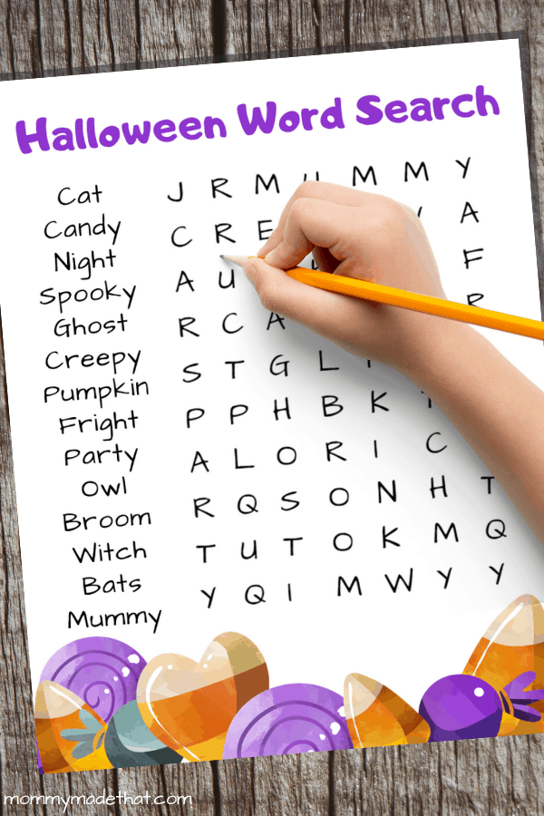 kid word search printable for halloween